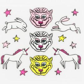 ♥ Tiger, unicorn, rabbit iron-on patch - multi ♥