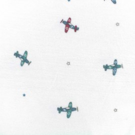 Oeko-Tex  velvet towelling jersey fabric airplanes - white x 10cm
