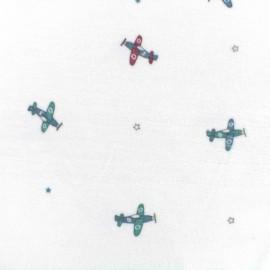 Oeko-Tex velvet towelling jersey fabric airplanes - white x 10cm