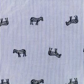 Oeko-Tex Zebra Embroidered Cotton voile Fabric - blue x 10cm