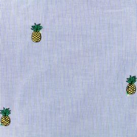 Tissu Oeko-Tex voile de coton brodé Pineapples - bleu x 10cm