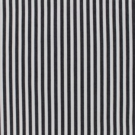 Tissu coton popeline  rayée - noir x 10cm