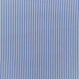 Tissu coton popeline  rayée - bleu x 10cm