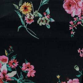 Tissu Gabardine satin Flowers - noir x 10cm