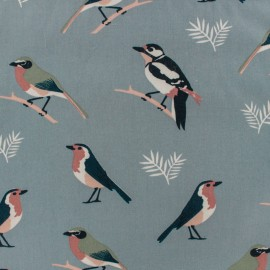 Tissu Gabardine satin Birds - bleu denim x 10cm