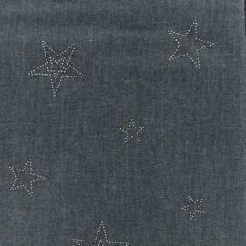 Tissu Jeans fluide étoiles - indigo x 10cm