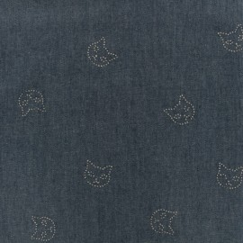 Cats Fluid Jean Fabric - indigo x 10cm