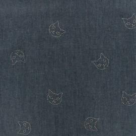 Tissu Jeans fluide cats - indigo x 10cm