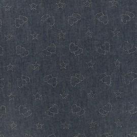 Tissu Jeans fluide coeurs et étoiles - indigo x 10cm