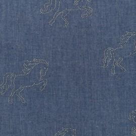 Horses Fluid Jean Fabric - indigo x 10cm