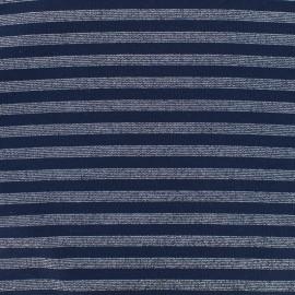 Jersey tubulaire bord-côte rayé lurex 1/1 - marine argent x 10cm