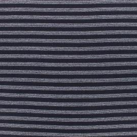 Jersey tubulaire bord-côte rayé lurex 1/1 - noir argent x 10cm