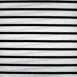 Tissu jersey maille légère rayures - noir sur blanc x 10cm