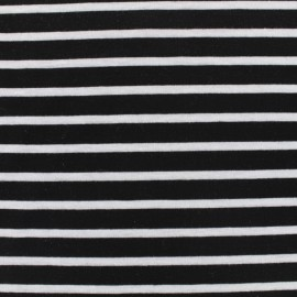 Light stripe and fluid jersey fabric - white on black x 10cm