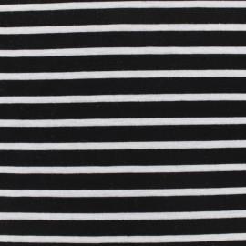 Tissu jersey maille légère rayures - blanc sur noir x 10cm