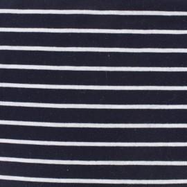 Tissu jersey maille légère rayures - blanc sur marine x 10cm