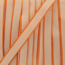 Ruban Froufrou gros grain avec bordure - orange x 1m