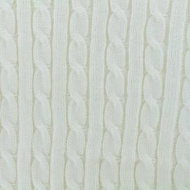 Tissu jersey maille Torsade - ecru x 10cm