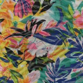 Tissu jersey dévoré tulipes - multicolore x 10cm