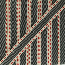 Stitched twill ribbon - black x 1m