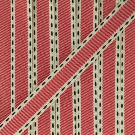 Ruban sergé surpiqué - rouge x 1m