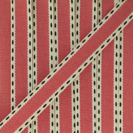 Stitched twill ribbon - red x 1m