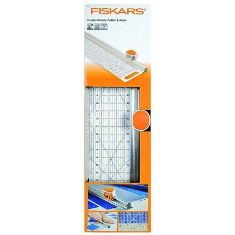 """Combined Cutter Rotary D45 mm and rule (6 """"x 24"""") - Fiskars"""