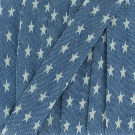 Biais jean clair étoile blanche 20 mm - bleu x 1m