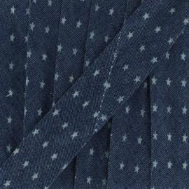 Biais jean foncé petite étoile 23 mm x 1m