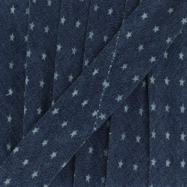 Biais jean foncé petite étoile 20 mm - bleu x 1m