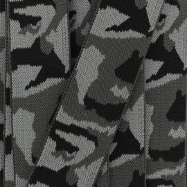 Elastic ribbon camouflage (40mm) - grey x 1m