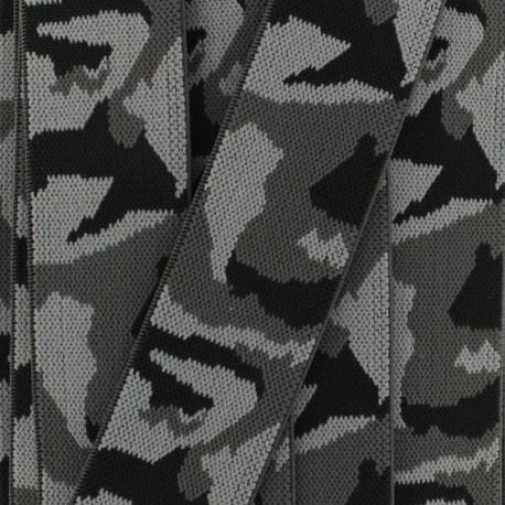 Ruban élastique camouflage  (40 mm) - gris x 1m