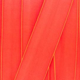 Satin elastic ribbon (38mm) - orange fluo x 1m