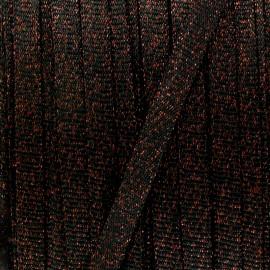 Cordon tricoté lurex (12 mm) - noir x 1m