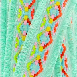 Maya fringed braid - water-green x 50cm