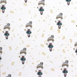 Tissu Oeko-Tex jersey Poppy Glitter girl - blanc x 10cm
