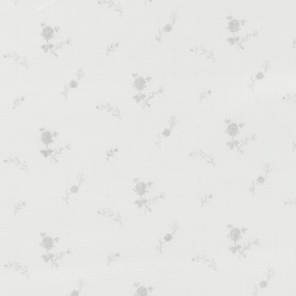 Tissu double gaze de coton à fleurs France Duval - blanc/argent x 10cm