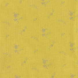 ♥ Coupon 70 cm X 150 cm ♥ Double cotton gauze fabric with flowers France Duval- banana /silver