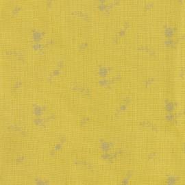 Tissu double gaze de coton à fleurs France Duval - banane /argent x 10cm