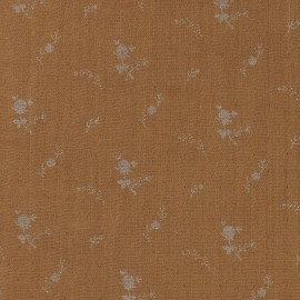 Double cotton gauze fabric with flowers France Duval- camel /silver x 10cm