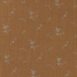 Tissu double gaze de coton à fleurs France Duval - camel /argent x 10cm