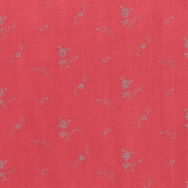 Double cotton gauze fabric with flowers France Duval- red/silver x 10cm