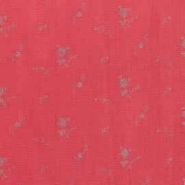 Tissu double gaze de coton à fleurs France Duval - coquelicot /argent x 10cm