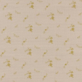 Double cotton gauze fabric with flowers France Duval- nude/ gold x 10cm