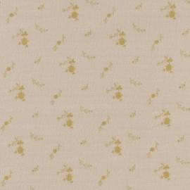 Tissu double gaze de coton à fleurs France Duval - nude/or x 10cm