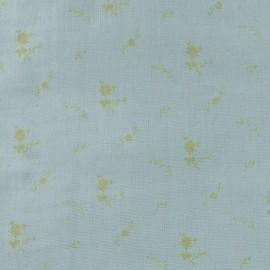 Tissu double gaze de coton à fleurs France Duval - vert de gris/or x 10cm