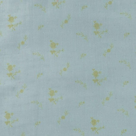 Double cotton gauze fabric with flowers France Duval- green-grey gold x 10cm