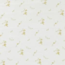 Tissu double gaze de coton à fleurs France Duval - blanc /or x 10cm
