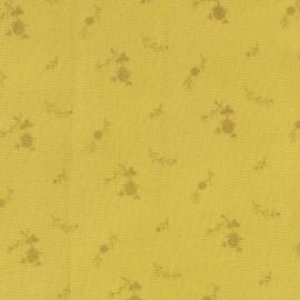 Tissu double gaze de coton à fleurs France Duval - banane /or x 10cm