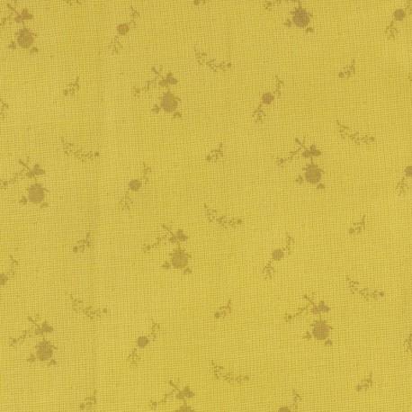 Tissu double gaze de coton à fleurs France Duval - banane or x 10cm